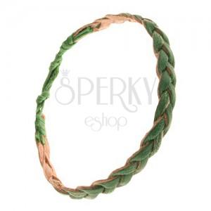 Prsten z trávově zelených proužků kůže, pletenec