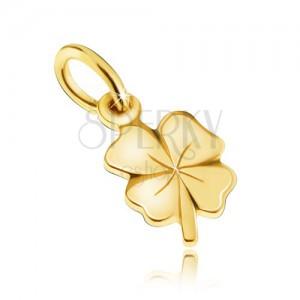 Přívěsek ze žlutého 14K zlata - lesklý plochý čtyřlístek pro štěstí