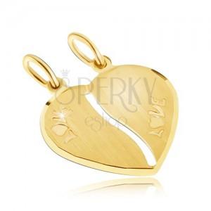 Zlatý dvojpřívěsek 585 - saténové srdce, nápis LOVE, podlouhlý výřez