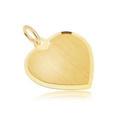 Zlatý přívěsek 585 - velké souměrné saténové srdce, lesklý okraj GG30.04