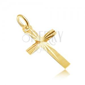 Přívěsek ze žlutého 14K zlata - plochý saténový kříž s paprskovitým rýhováním