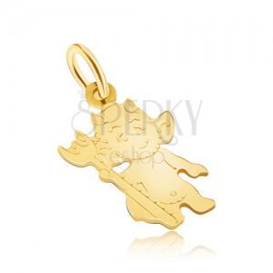 Přívěsek ze žlutého 14K zlata, lesklý plochý čertík s vidlemi, gravírovaný