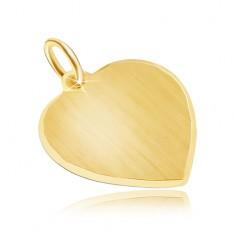 Zlatý přívěsek 585 - velké symetrické saténové srdce, blyštivý okraj GG30.01