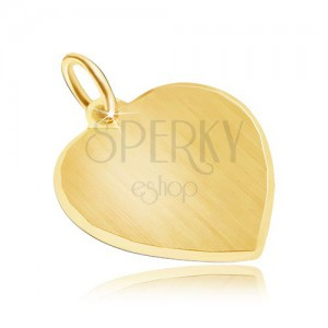 Zlatý přívěsek 585 - velké symetrické saténové srdce, blyštivý okraj