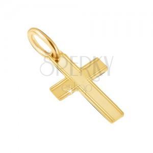 Přívěsek ve žlutém 14K zlatě - lesklý latinský kříž, tenké rýhy na okrajích