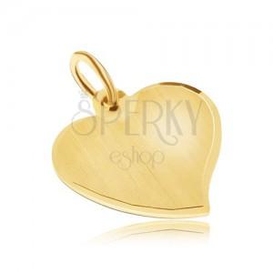 Zlatý přívěsek 585 - nepravidelné ploché srdce, saténový povrch, lesklý okraj