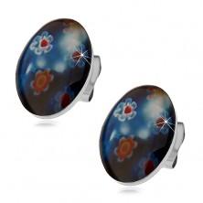 Puzetové ocelové náušnice, modrý ovál s barevnými květy