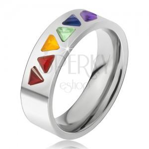 Lesklý prsten z oceli, barevné trojúhelníkové kamínky