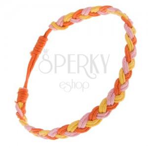 Pletený šňůrkový náramek žluté, růžové a oranžové barvy