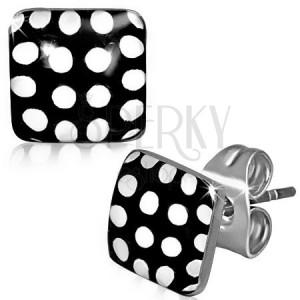 Náušnice z oceli, černobílé puntíkované čtverce
