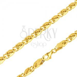 Řetízek ze žlutého 14K zlata - články s esíčkovým motivem, rovné, 510 mm