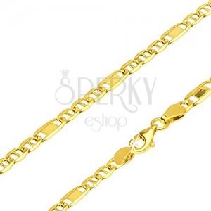 Řetízek ze žlutého 14K zlata - články s oskou a jeden s obdélníkem, 450 mm