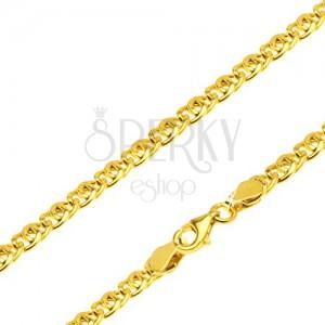 Řetízek ze žlutého 14K zlata - dvě oválná očka překřížená přes sebe, 550 mm