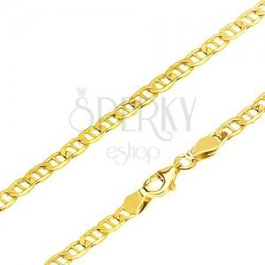 Řetízek ve žlutém provedení 14K zlata - elipsovitá očka předělená oskou, 555 mm