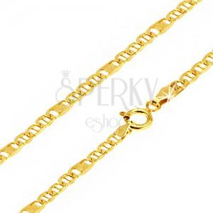 Řetízek ze žlutého 14K zlata, oválná očka s oskou, článek s mřížkou, 550 mm