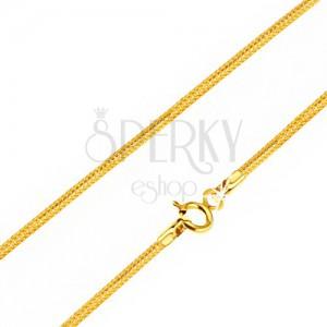 Řetízek ze žlutého 14K zlata - články ve vzoru hadí kůže, 440 mm