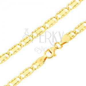 Náramek ze žlutého 14K zlata - větší ploché články, rýhy, obdélník, 200 mm