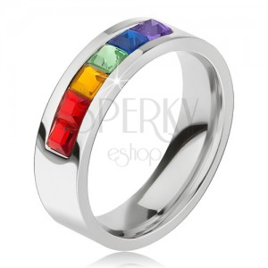 Prsten z chirurgické oceli, pás z barevných čtvercových kamínků