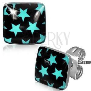 Náušnice z oceli, černé čtverce s modrými hvězdami