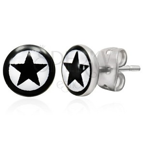 Okrouhlé ocelové náušnice, černá hvězda v kruhu