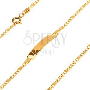 Zlatý 585 náramek s plíškem - tři oválná očka a článek s mřížkou, 165 mm