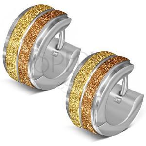 Kruhové náušnice z oceli, dva pískované zlaté pásy