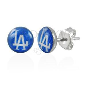 Náušnice z oceli, modré kruhy s nápisem LA