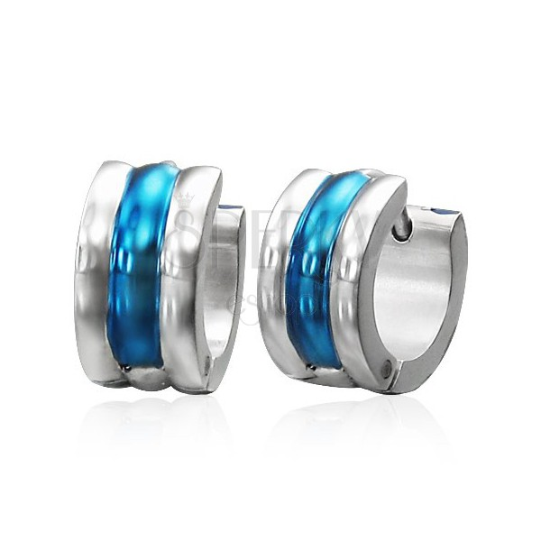 Ocelové náušnice střídající barevné pruhy