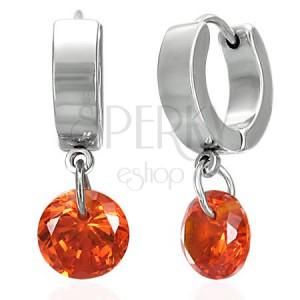 Ocelové náušnice s visícím kuželem, oranžové