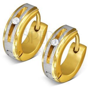 Ocelové náušnice zlaté barvy - kruhy, saténový pás, kulatý čirý zirkon