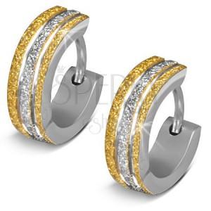 Blyštivé ocelové náušnice - kroužky, dvoubarevné pískované pásy