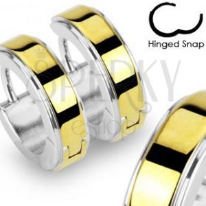 Kruhové ocelové náušnice lesklé stříbrné barvy, zlatý hladký pás