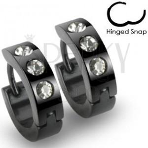 Černé náušnice z oceli - kroužky, tři kulaté čiré kamínky