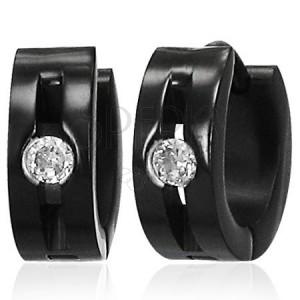 Ocelové náušnice - lesklé černé kroužky, rýha, čirý kamínek