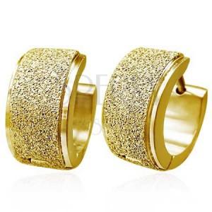 Kruhové náušnice z oceli - široký pískovaný pás, zlatá barva