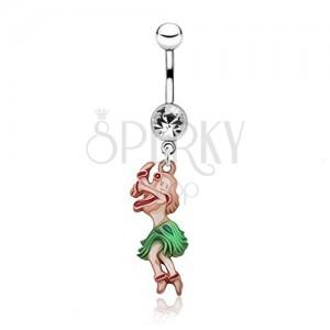 Lesklý ocelový piercing do pupku - barevná tančící žena, zirkon
