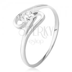 Prsten ze stříbra 925, kulatý zirkon mezi dvěma smyčkami