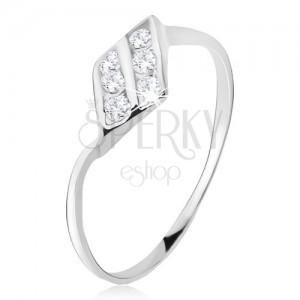 Prsten ze stříbra 925, kosodélník, dvě zirkonové linie