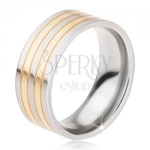 Titanový prsten - lesklá obroučka stříbrno-zlaté barvy, střídající se pásy