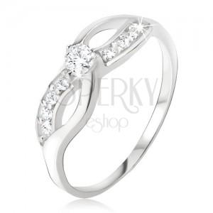 Stříbrný prsten 925 - symbol nekonečna, zirkonová linie, okrouhlý kamínek