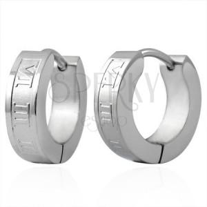 Ocelové náušnice - kroužky stříbrné barvy, římské číslice
