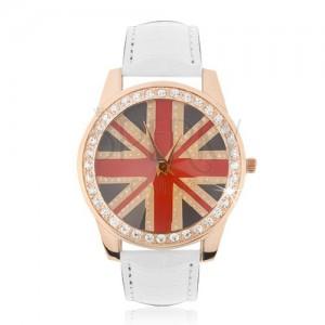 Náramkové hodinky z oceli - zlatorůžové, britská vlajka, bílý řemínek
