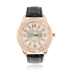 Ocelové hodinky zlatorůžové barvy - bledě růžový ciferník, zirkony