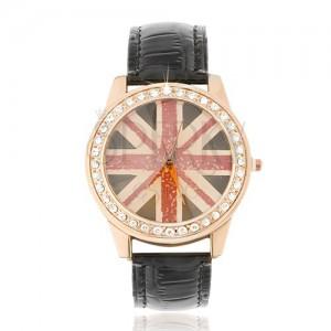 Náramkové hodinky z oceli - zlatorůžové, britská vlajka, černý řemínek
