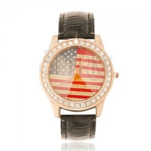 Analogové hodinky, zlatorůžové, černý řemínek, americká zástava, zirkony