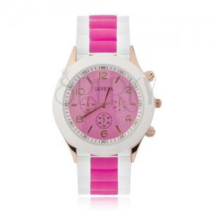 Analogové hodinky, zlatorůžové, sytě růžový ciferník, silikonový řemínek