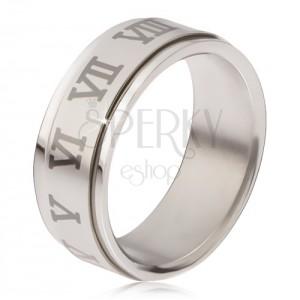 Lesklý prsten z oceli - matná točící se obruč, šedé římské číslice