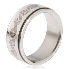 Oceľový prsteň - točiaca sa matná obruč, potlač gréckeho pletenca