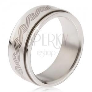 Ocelový prsten - točící se matná obruč, potisk řeckého pletence