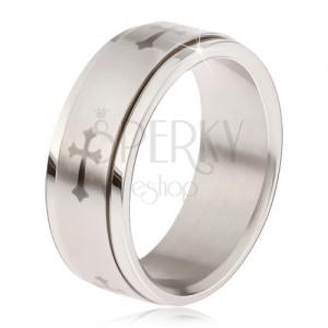 Lesklý prsten z oceli - matná točící se obruč, šedý potisk liliového kříže
